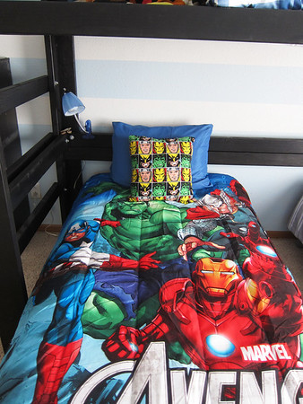 Troy loves Thor but I couldn't find a comforter with just Thor on it.  I looked everywhere.  I was very happy to find this Avengers one with Thor,  at walmart.