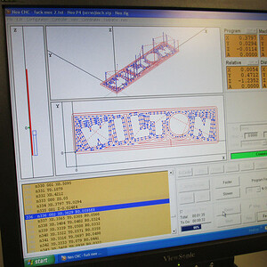 Flashcut cam program to control machining of letters.