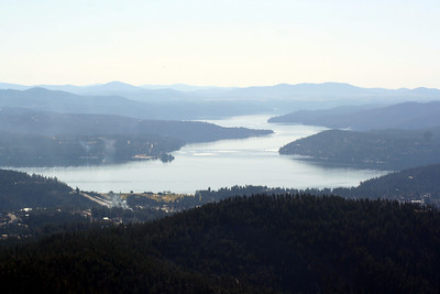 Lake Coeur d' Alene. You can see the Coeur d' Alene Resort Golf course.