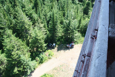 View of Mom & Dad by AVTs looking down from top of Fire Tower on Spades Mt