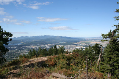 View of Coeur d' Alene ID on top of Canfield Mt.
