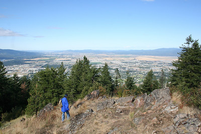 Pat looking at Coeur d' Alene on top of Canfield Mt