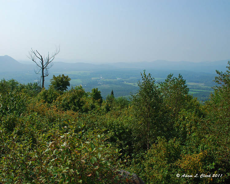 View from one of the picnic areas on Morse Mtn in North Stratford.  It was very hazy today before the rain storm came in