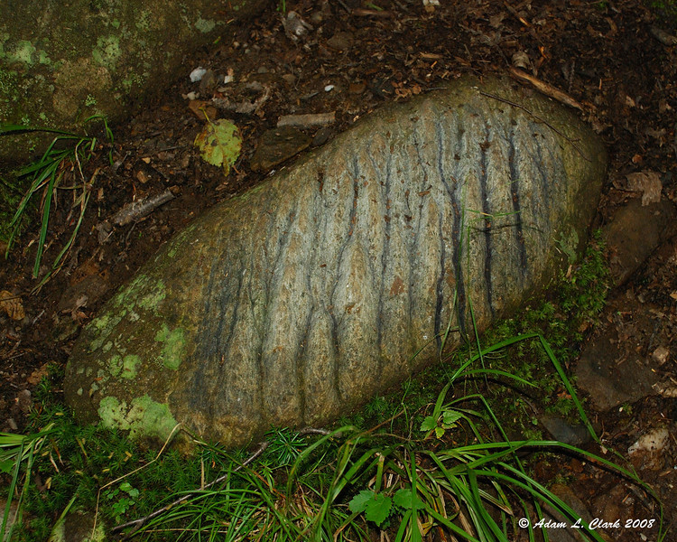 One of the many rocks on Mt. Magalloway scared up by snowmobile track studs.  The grooves are close to an inch deep.