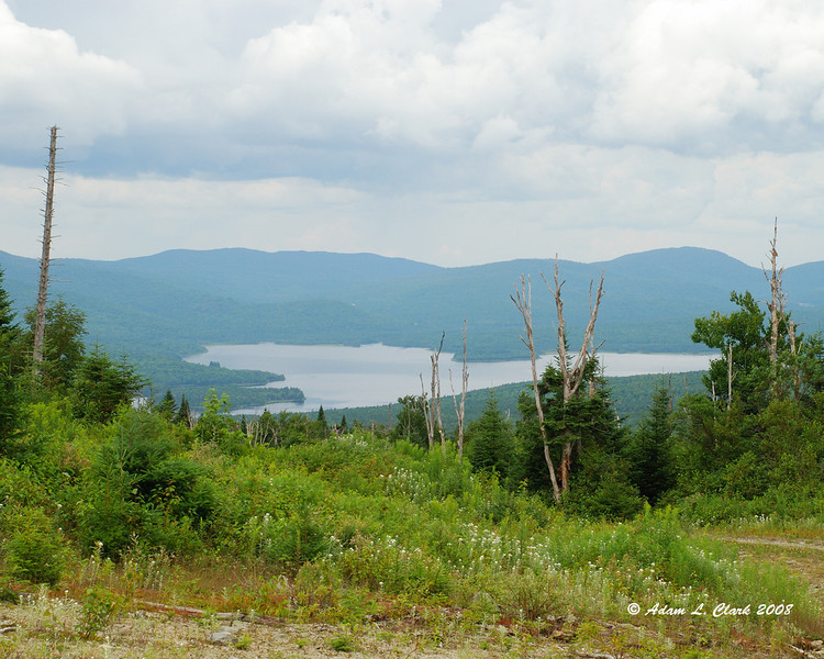 View of the Second Connecticut Lake while coming down Diamond Ridge.