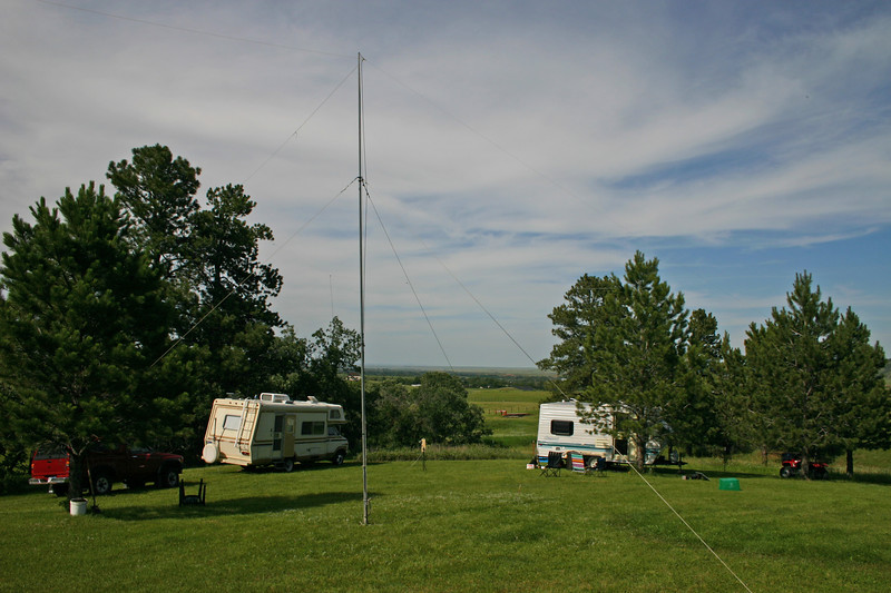 There were plenty of trees to help anchor several dipole antennas.  Also a nice field in which to park campers, erect a mast, hook up a generator, and position a solar panel!