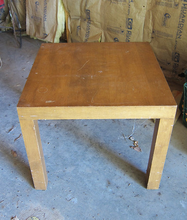This table was very plain and boring.  I had an idea to spruce it up.