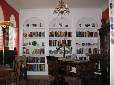 Library bookcase with Linda's English history books and wedgwood pieces