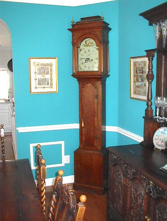 """Dining Room - English Oak Tall Case Clock, 7' 11"""" high, with """"Williams"""" inscribed on the front of the movement. Williams was a Manchester clockmaker who was in business between 1780 & 1810."""