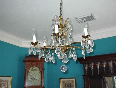 Dining room - French antique five light crystal chandelier