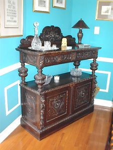 Dining Room - English carved oak Renaissance Revival style server, circa late 19th century