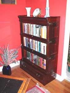 Library - Globe Wernecke lawyers bookacase in mahogany with fluted columns & inset side panels