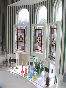 Master bath - Late 19th century American stained glass windows
