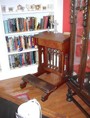 Library - French carved oak gothic style prier dieu with nice pierced carving