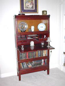 Upstairs gallery - Early 20th century Globe Wernecke lawyer's stacked bookcase with rare dropfront desk section