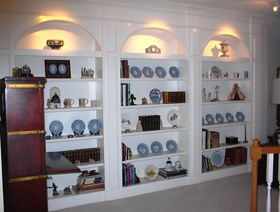 Upstairs landing - vintage and antique books and wedgwood pieces