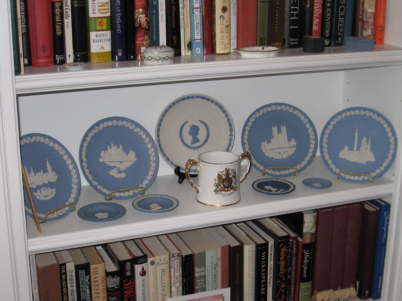 Wedgwood plates with a coronation commemorative mug. God save the Queen from Tony Blair, George Bush, and all other evil people in the world. Amen.