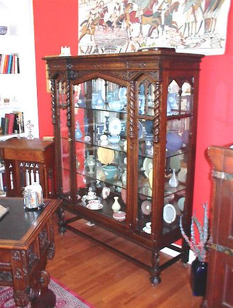 Library - English oak gothic style display cabinet with vintage and antique Wedgwood Jasperware.