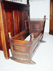 Guest room - 18th century oak infant's cradle.