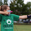 On Site Archery (owner Bob Wait of Billerica), holds classes Saturday mornings at Vietnam Veterans Park in Billerica. Catherine Crane, 13, of Wakefield, was taking her first class with On Site Archery. She'd done a little archery before at camp.  (SUN/Julia Malakie)