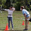 On Site Archery (owner Bob Wait of Billerica), holds classes Saturday mornings at Vietnam Veterans Park in Billerica. Katia Risola, 16, of Melrose, gets some coaching from Steve Seymour of Billerica,  (SUN/Julia Malakie)