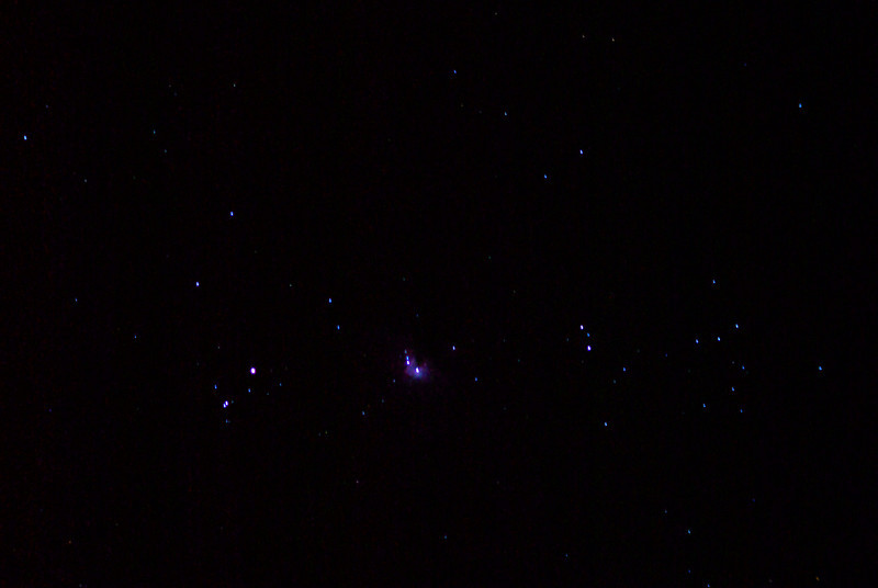 Orion Nebula, single exposure, no stacking. TV76 to Pentax K10D.
