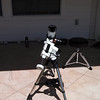 My current solar setup - Lunt 60T Hydrogen Alpha tunable solar telescope and iOptron Systems SmartEQ Pro mount with Lunt 7.2-21.5mm Zoom eyepiece.