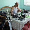 Clay at dacha with telescope equipment -