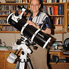 Clay with his 60th birthday present -- ready for action and praying for Clear Skies! This is a Sky-Watcher 15075 with EQ3-2 mount and motor drive, with a Manfrotto ballhead to accept his Nikon D90. The theology library is optional, but very helpful!