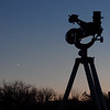 Dacha - scope viewing to west as Crescent Venus is setting with the setting sun -