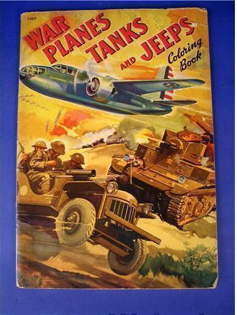 """1942 copy of """"War Planes, Tanks and Jeeps Coloring Book"""".  <br /> <br /> copyright 1942 <br /> <br />  Merrill Publishing Company, Chicago, Illinois.<br /> <br /> Taken from the internet"""