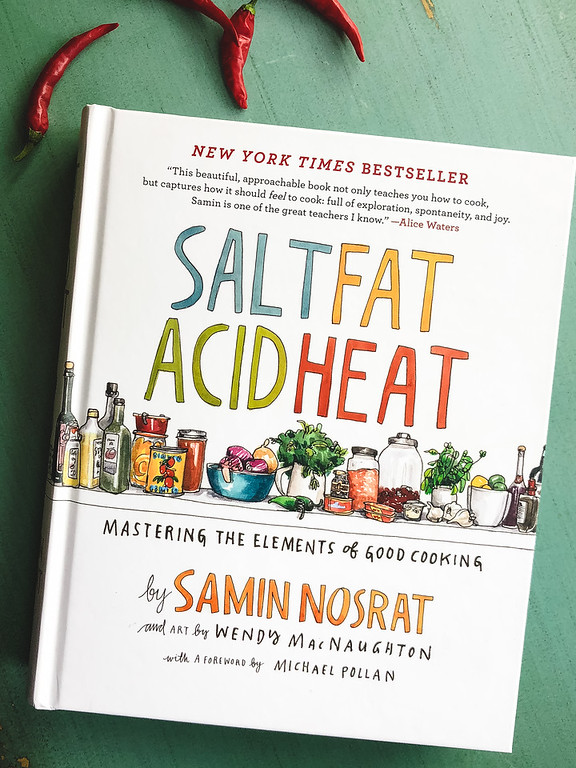 Photo of the book, Salt Fat Acid Heat by Samin Nosrat