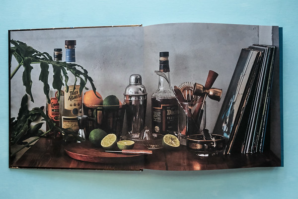 Photo spread from Booze & Vinyl of cocktails and albums