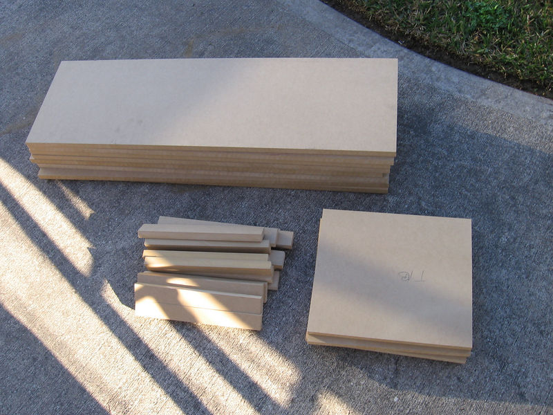 """When all the sawdust has cleared you will have eight 36"""" panels, four 12-3/4"""" top & bottom panels, plus a number or 1-1/2"""" pieces to use as braces. The other dimension on every piece is the board's 11-1/4"""" width."""