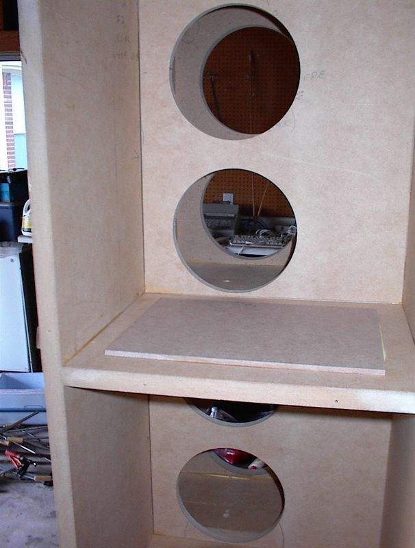 OOPS! Mid Course Correction - Rick Craig pointed out that it would be better if each two-woofer section, with its own port, were isolated from the others. So here's a view of the interior after the addition of some covers for the openings between the woofer sections.