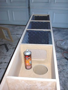 Installing the eggcrate foam damping material