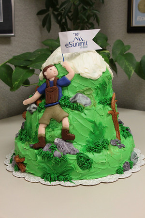Exempla Healthcare eSummit 90 day readiness meeting - Chocolate tiered cake with vanilla frosting.  Rocks, logs and hiker are edible fondant.