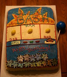 """Big Money"" slot machine cake. Sorry it wasn't the Wheel of Fortune machine Kel!"