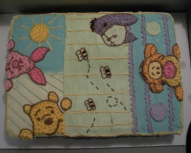 Winnie the Pooh baby shower - design matched crib quilt.