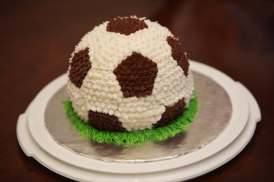 Elijah's soccer ball - chocolate cake, buttercream icing