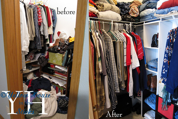 Project: What The Hell Happened! A budget friendly closet revamp. Before and After.<br />  So, obviously this closet was neglected for awhile. Either that or there was an explosion of some sort. I did some measuring and headed off the the hardware store. The wire shelving was inexpensive and easy to install. Had the guy at lowes cut the shelves according to my measurements and I was ready to go. I got these up in about 30 minutes, but I will say, I'm not afraid to drill several holes in the wall until I get things right. I also did not purchase the corner piece shelving, why? Because it was 25 bucks and would have required more time to measure things and install. So I just formed the corner with these 2 pieces. Picked up some totes and a new basket on my way out. Lowes has a really great selection of bins, totes and baskets to help keep things organized. I removed some of the other shelving and rearranged others.