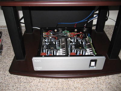 The amp installed in the system and working with the buffer boards. The buffers present a higher impedance to the preamp than the ICE modules, whose input impeance is a relatively low 11K ohms, a challenging load for some tube preamps and an impossible load for most passive preamps.