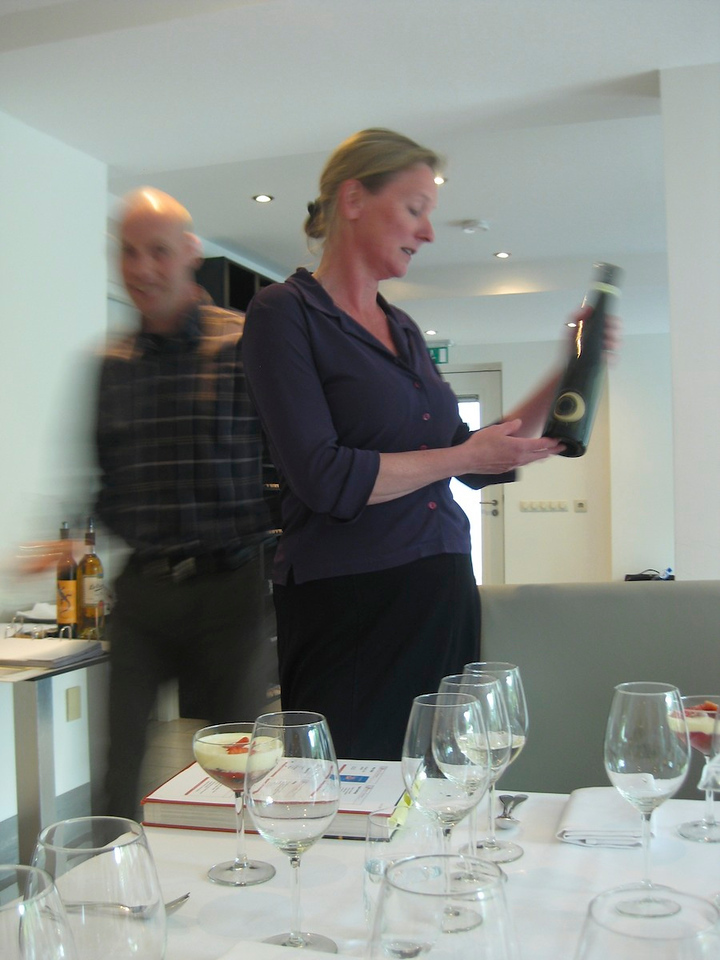 justine as our hostess, explaining her choice of desert wine