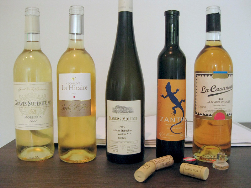 the deserts wines of the evening