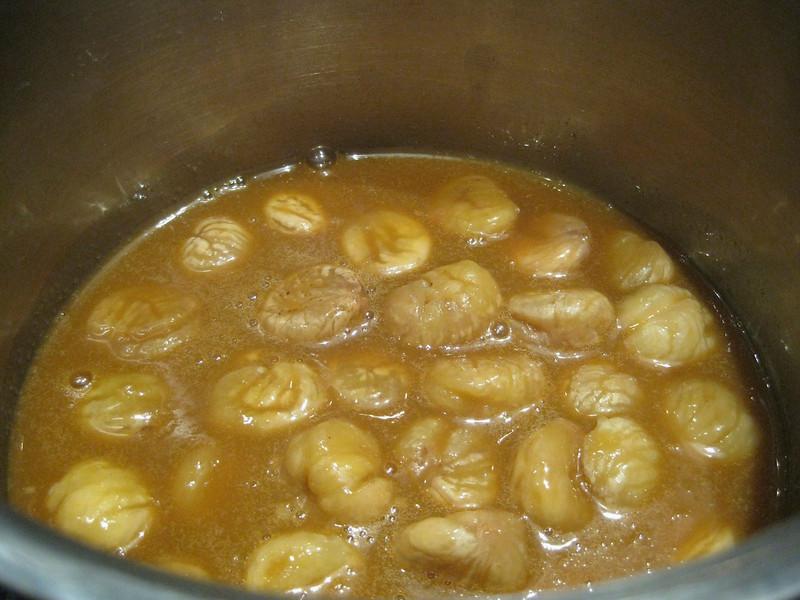 chestnuts, fresh in sugar caramel