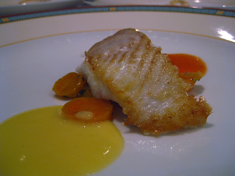 halibut with a tomato coulli and a beurre blanc