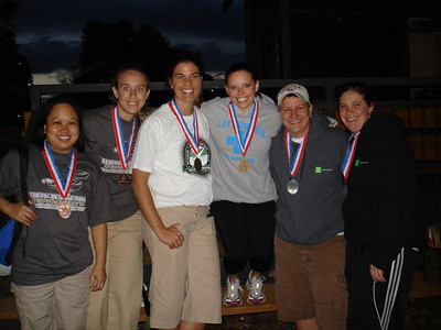 Bronze Team FRB (Jackie Nugent and Melanie Hazlett), Gold Team American Century, and Silver Team H&R Block.