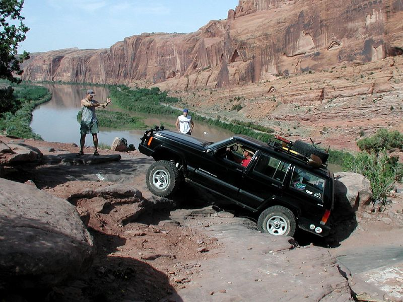 03052406  Going up Moab Rim Trail, Moy 2003.