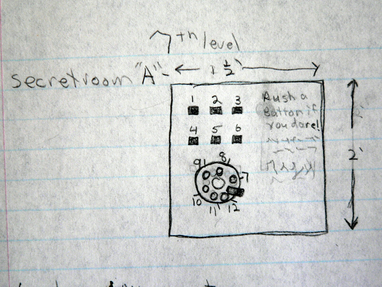 Drawing of the interface for some game of chance trap.  Push buttons and dial-up numbers to determine your fate!