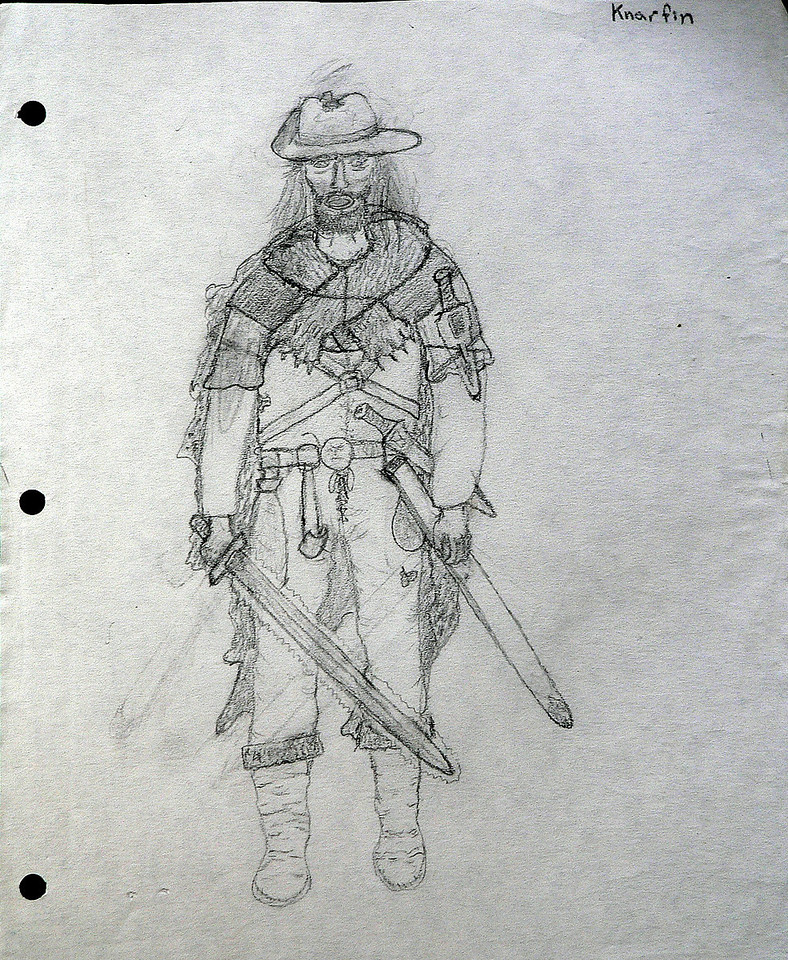 One of my most successful characters, the thief Knarfin.  What an artist I was!  lol